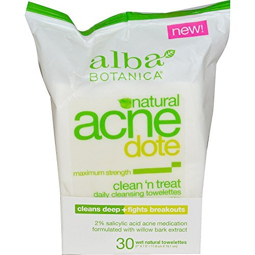 Alba Botanica, Acne Dote, Daily Cleansing Towelettes, Oil Free, 30 Wet Towelettes - 2pc