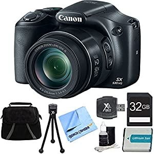 Canon PowerShot SX530 HS 16MP 50x Opt Zoom Full HD Digital Camera Bundle with 32GB Memory Card, 1150mah Battery and Accessories (Black)