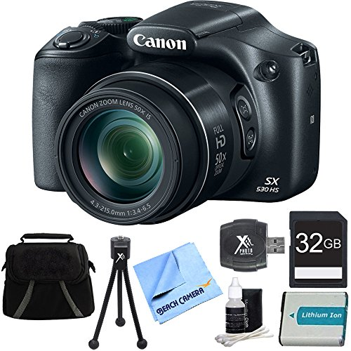Canon-PowerShot-SX530-HS-16MP-50x-Opt-Zoom-Full-HD-Digital-Camera-Bundle-with-32GB-Memory-Card-1150mah-Battery-and-Accessories-Black
