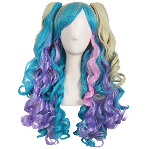 MapofBeauty Multi-color Lolita Long Curly Clip on Ponytails Cosplay Wig (Light Purple/Cyan Blue/Pink/Light Blonde) ()