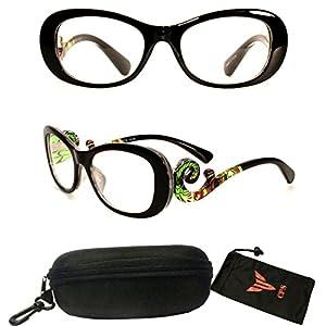 (#PSTS) Women Transparent Colorful Art Fashion Designer Trendy Reading Glasses Readers Optic Frame Clear Lens (Strength: 2.25)