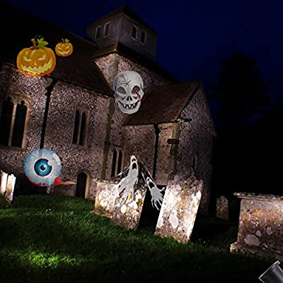 Excelvan Halloween Decoration Waterproof IP65 Landscape Projector LED Light 12 Color Switchable Patterns Auto Rotating Lamp for Christmas, Birthday, Wedding, Party (Black)