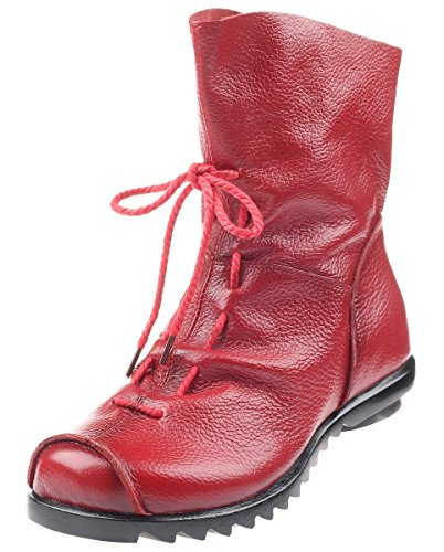 Vintage Boots Style3 Shoes Zip Women Leather Floral Red MatchLife Rawzx6Anq