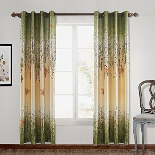 "ChadMade Maple Leaf Print Polyester With Blackout Lined Window Curtain Drape Antique Brone Grommet 120"" W x 96"" L (1 Panel) For Bedroom Living Room Club Restaurant"