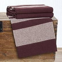 Bedford Home Australian 100-Percent Wool Blanket, Full/Queen, Burgundy
