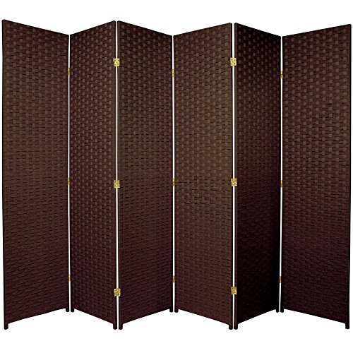 Oriental Furniture 6 ft. Tall Woven Fiber Room Divider - 6 Panel - Dark Mocha