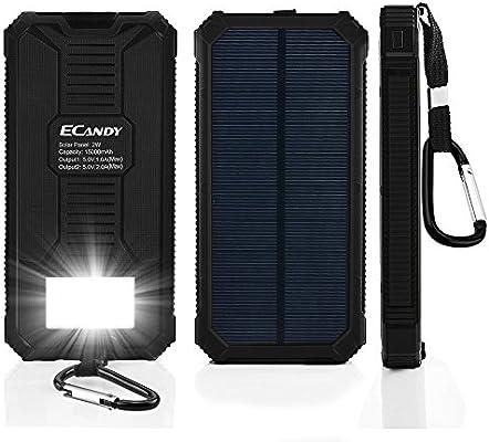 ecandy 15000 mAh Backup de batería solar corriente – Cargador dual USB port, con 8 LED de linterna solar de Cargador para iPhone Samsung Galaxy S6, ...