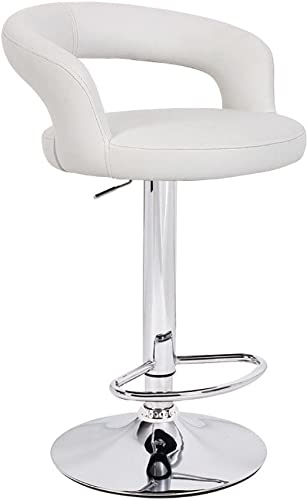 Set of 2 Halo Leather Contemporary Adjustable Barstool – Vanilla White