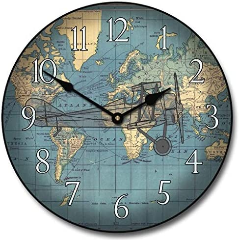 Around The World Airplane Wall Clock, Available in 8 Sizes, Most Sizes Ship 2-3 Days, Whisper Quiet.