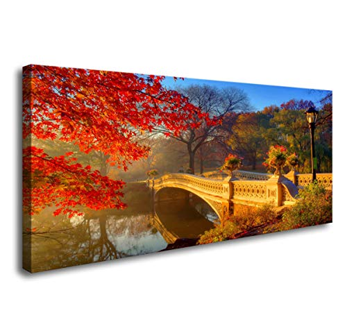 Wall Art for Living Room Large Canvas Prints New York Central Park Bow Bridge Pictures Wall Decor Artwork for Walls Modern Autumn Photo Prints Bedroom Decor Framed Wall Art Ready to Hang 24x48inch