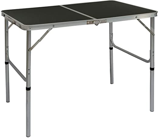 AMANKA Camping Table in Aluminum 90x60x70cm Portable Adjustable ...
