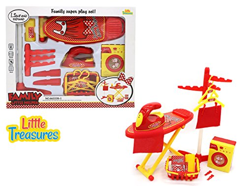 Little Treasures Family Little Helper Play Set Featuring A Hanging Rack, Washing Machine, Ironing Board and Iron from ()