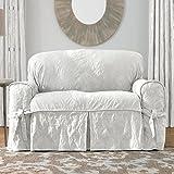 Sure Fit Matelasse Damask 1-Pc Sofa-White
