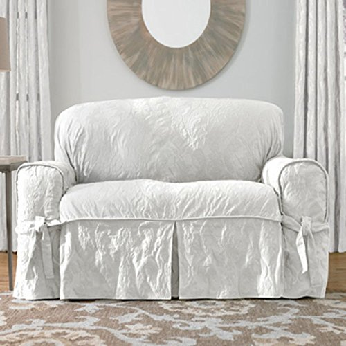 Sure Fit Matelasse Damask 1-Pc Sofa-White