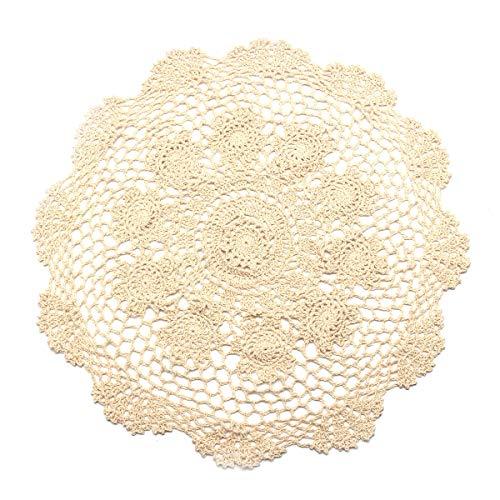 VT BigHome 50cm Handmade Round Tablecloth Doily Table Cloth Crochet Lace Cotton Cover Mat Banquet Wedding Decoration Home Textiles ()