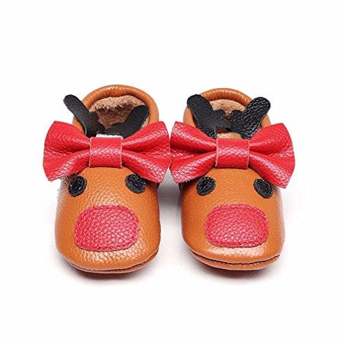TPulling Mode Junge Und Mädchen Herbst Und Frühling Winter Baby Hirsch Bowknot Baby Schuhe Kleinkind Schuhe Rutschfeste Turnschuhe Plattenschuhe Lässige Schuhe Kaffee