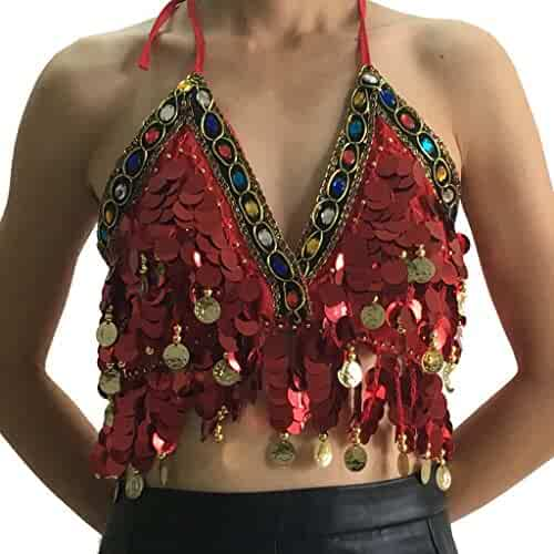 6279b636d4e Wuchieal Sequin Halter Bra Top Salsa Belly Dance Boho Festival Clubbing  Tribal Bra BH Top