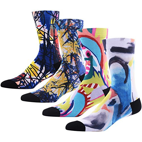 Novelty Funny Cartoon Socks for Men, MEIKAN Crazy Digital Printing Colorful Graphic Pattern Socks 4 Pairs, Color 7,One Size (Funny Work Cartoons)