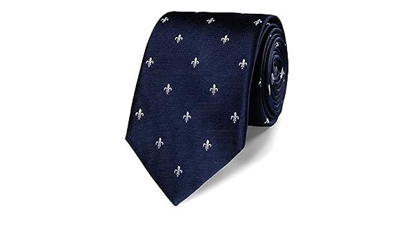 Corbata clásica azul marino de seda con motivo de flor de lis ...