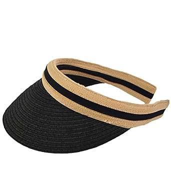 Women Golf Visors Caps Straw Sun Beach Hats (Black)