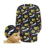 SHELLBOBO Baby Carseat Wrap Stretchy Cover Muslin Canopy Halloween Set (black)
