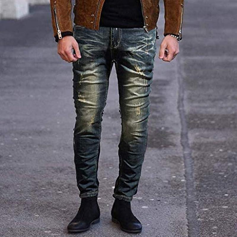 HaiDean Jeans Einfarbig Denim Röhrenjeans Modernas Distressed Slim Männer Elastic Europäische Hosen Klassisch Männer Mode Vintage Casual Hosen (Color : Dunkelblau, One Size : 32W/30L): Odzież