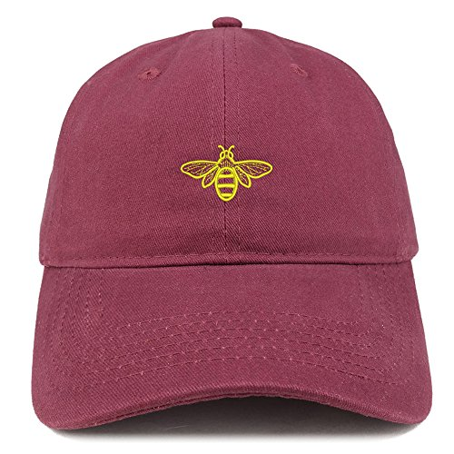Trendy Apparel Shop Bee Embroidered Brushed Cotton Dad Hat Cap - Maroon