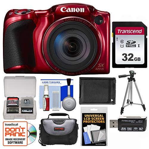 Canon PowerShot SX420 is Wi-Fi Digital Camera (Red) with 32GB Card + Case + Battery + Tripod + Kit