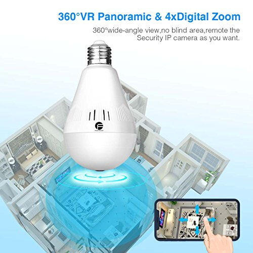 Wireless Security Bulb Camera, FirstPower 960P Home Security Surveillance Camera 360 Panoramic IP Camera with Night Vision Two Way Talking Motion Detection for Android IOS Phone by FirstPower (Image #2)