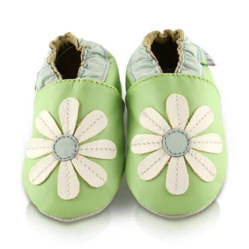 Snuggle Feet - Suaves Zapatos De Cuero Del Bebé Margarita Verde (18-24 meses)