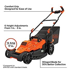 BLACK+DECKER BEMW482BH Electric Lawn Mower 78 Winged blade for 30% better clipping collection Designed to power through tall grass. Ideal for 1/8 acre Push-button start