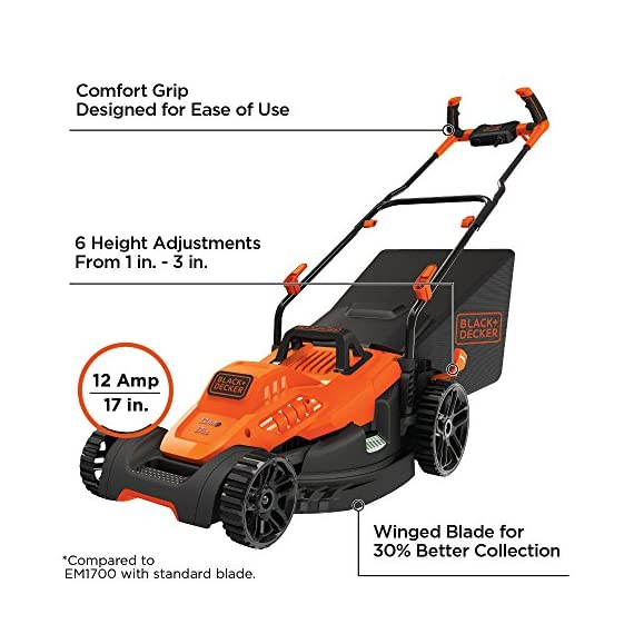 BLACK+DECKER Electric Lawn Mower, 12-Amp, 17-Inch (BEMW482ES) 1 Winged blade for 30% better clipping collection Designed to power through tall grass. Ideal for 1/8 acre Push-button start
