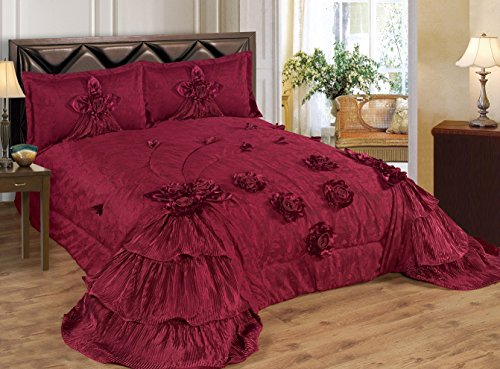 3 Piece Real 3D Comforter Set Bedspread Flower Ruffle Oversized Queen / King (Queen Size, Olivia burgundy)
