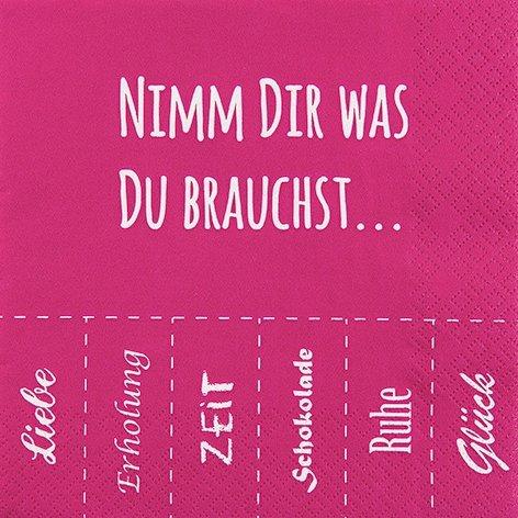 20 Servietten 33x33 cm Nimm Dir was du brauchst Sprüche Liebe