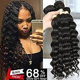 QTHAIR 10A Grade Peruvian Loose Deep Curly Wave (18'' 20'' 22'' 24'',400g,Natural Black)100% Unprocessed Peruvian Virgin Hair Loose Deep Wave Human Hair