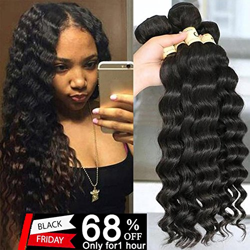 QTHAIR 10A Grade Peruvian Loose Deep Curly Wave (18'' 20'' 22'' 24'',400g,Natural Black)100% Unprocessed Peruvian Virgin Hair Loose Deep Wave Human Hair by QTHAIR