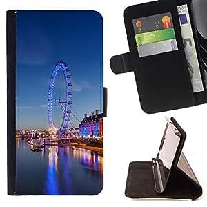 BullDog Case - FOR/Samsung Galaxy S5 Mini, SM-G800 / - / Ferry Wheel Amusement Park London /- Monedero de cuero de la PU Llevar cubierta de la caja con el ID Credit Card Slots Flip funda de cuer
