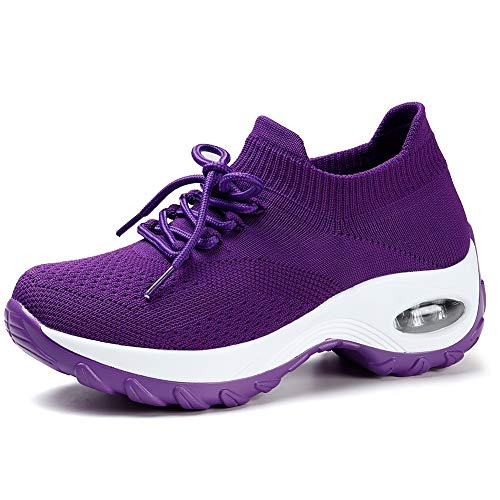 STQ Women Running Sneakers Ultra Lightweight Flyknit Shoes Breathable Fashion Casual Athletic Shoes for Walking Purple 9