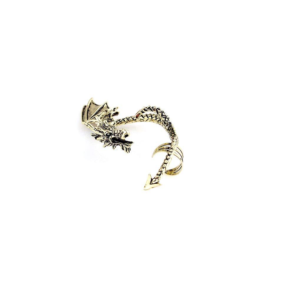 Asien 1 Piece Antique Dragon Oriental Boucles doreilles Winged Volant de Dragon Non Perc/ées Oreille Gauche Boucles doreilles Argent