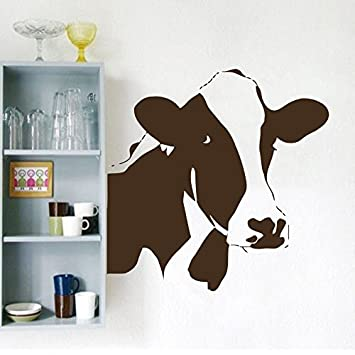 Wall Decals Domestic Animals Cow Head Bedroom Living Children Any