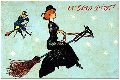 Vintage Clipart: Halloween, Witch and Pumpkin Metal Wall Plaque Tin -