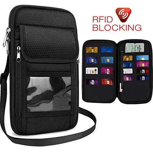 Travel Passport Pouch with RFID Blocking, Anti-Theft Zipper Neck Wallet, Document Organizer & Money Holder for Women Men to Secure Traveling Safe - Black