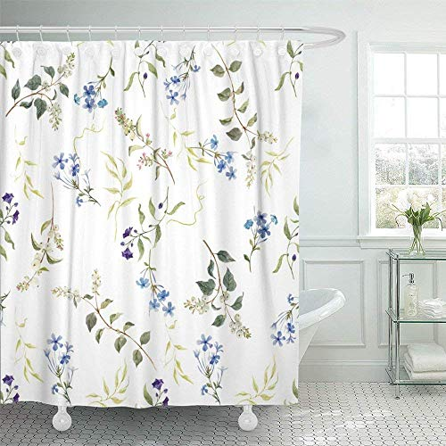 Giraffe Shower Flower Blue (Franala Colorful Abstract Delicate Floral Pattern Blue Flowers Retro Plumbago Snowberry Green Beautiful Beauty Polyester Fabric Shower Curtain Sets with Hooks Creative Bathroom Shower Curtain)