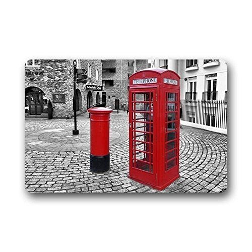 Uiowsbe Antique London Red Telephone Booth Washable Doormat/Gate