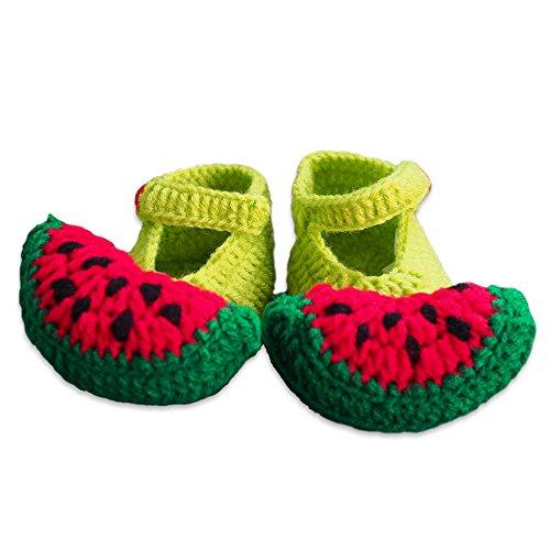Handmade crochet unisex-baby newborn socks cute green watermelon