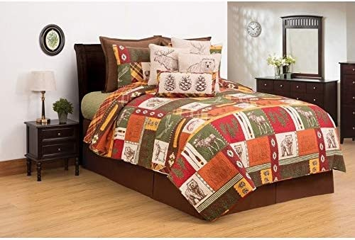 BEAUTIFUL SOUTHWEST COUNTRY COTTON FLOWER LODGE CABIN BROWN RED BEIGE QUILT SET