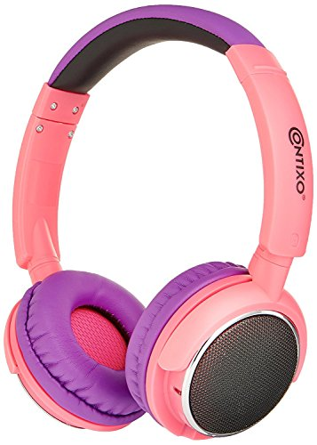 BLACK FRIDAY DEAL! Contixo KB-300 Kid Safe 85DB Over the Ear Wireless Bluetooth LED Headphone with Volume Limiter, Built-in Microphone, Micro SD, FM Stereo Radio, Audio Input, Pink + Purple