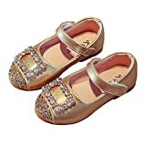 LINKEY Toddler Girls Square Rhinestone Buckle Ballet Flat Dress Shoe Princess Mary Jane Golden Size 24