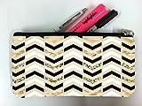 Black Gold Silver (not actual glitter) Chevron Pattern Design Print Image Student Pen Pencil Case Coin Purse Pouch Cosmetic Makeup Bag