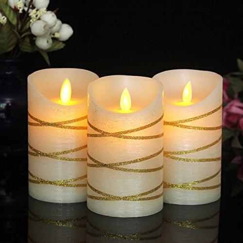 "AUTHENTIC Slim Wax Flameless Pillar Candles, 3"" X 5"" Set ..."